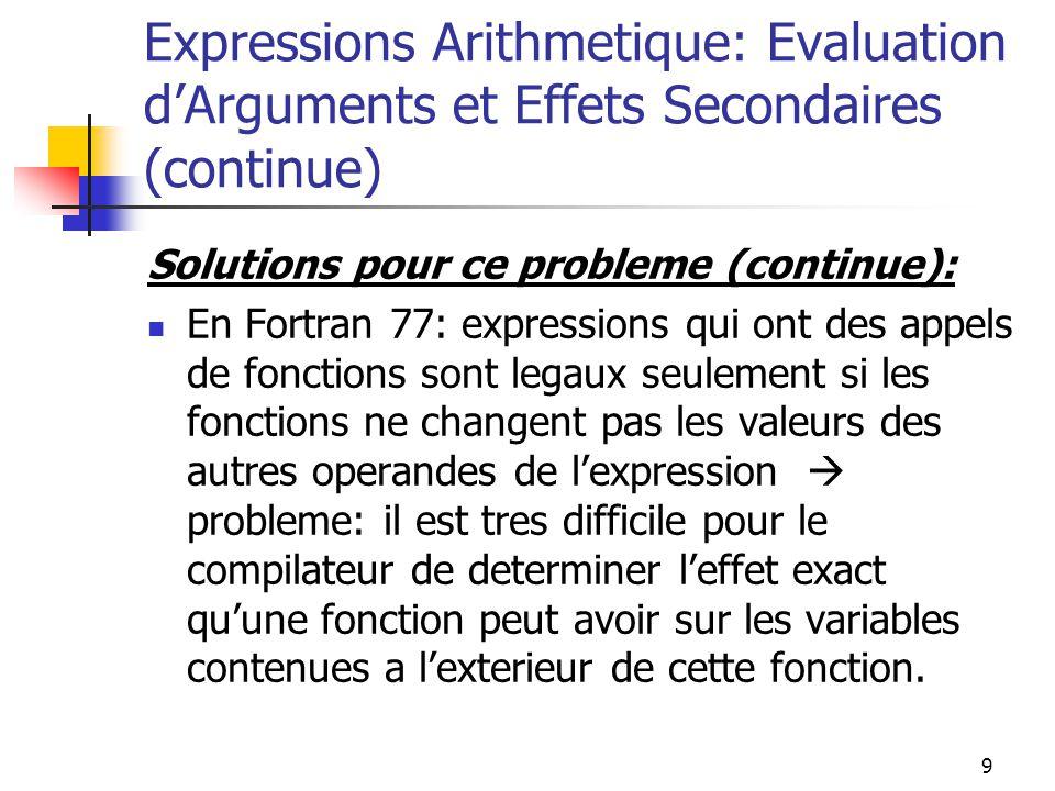 9 Expressions Arithmetique: Evaluation dArguments et Effets Secondaires (continue) Solutions pour ce probleme (continue): En Fortran 77: expressions q