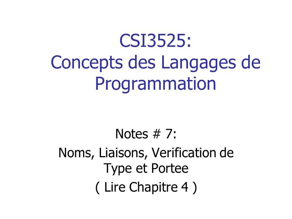 CSI3525: Concepts des Langages de Programmation Notes # 7: Noms, Liaisons, Verification de Type et Portee ( Lire Chapitre 4 )