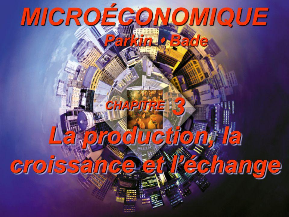 Introduction à la microéconomique Slide 3-1 CHAPITRE 3 La production, la croissance et léchange Parkin Bade MICROÉCONOMIQUE