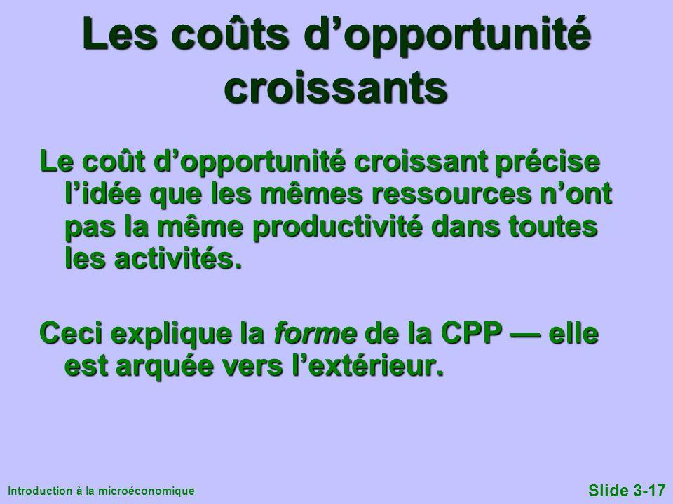Introduction à la microéconomique Slide 3-17 Les coûts dopportunité croissants Le coût dopportunité croissant précise lidée que les mêmes ressources n