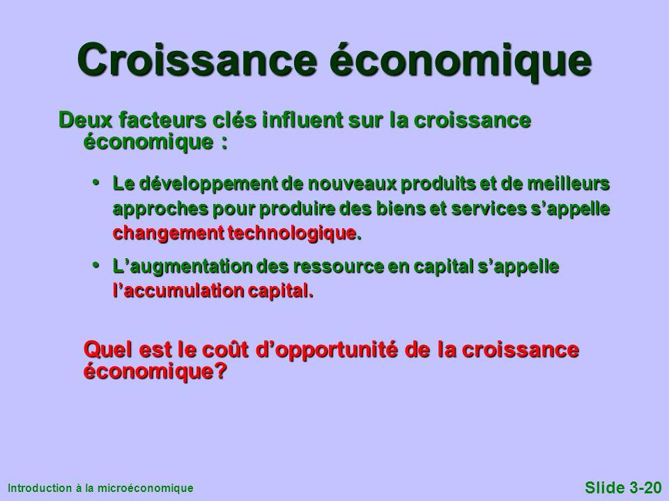 Introduction à la microéconomique Slide 3-20 Croissance économique Deux facteurs clés influent sur la croissance économique : Le développement de nouv