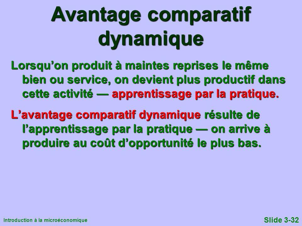 Introduction à la microéconomique Slide 3-32 Avantage comparatif dynamique Lorsquon produit à maintes reprises le même bien ou service, on devient plu