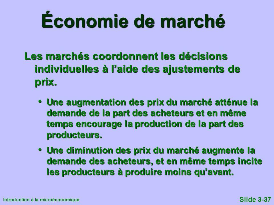 Introduction à la microéconomique Slide 3-37 Économie de marché Les marchés coordonnent les décisions individuelles à laide des ajustements de prix. U
