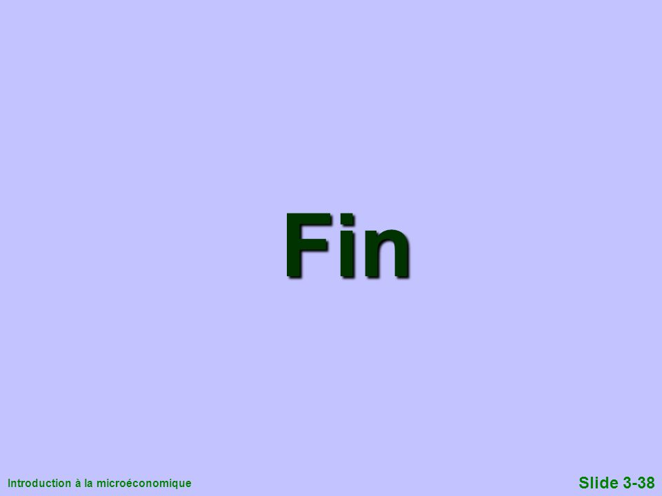 Introduction à la microéconomique Slide 3-38 Fin