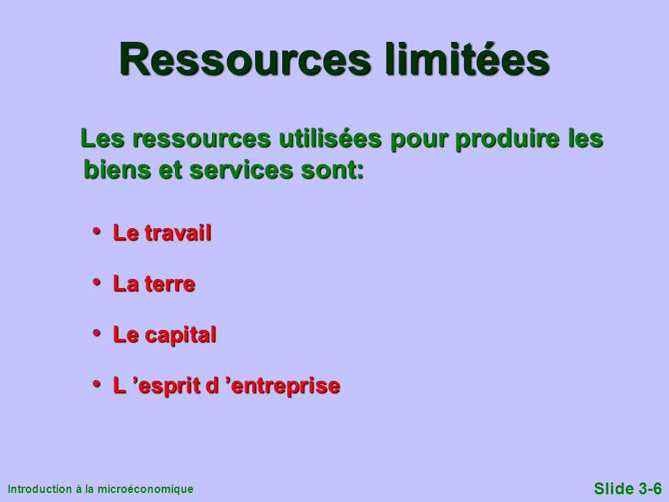 Introduction à la microéconomique Slide 3-6 Ressources limitées Les ressources utilisées pour produire les biens et services sont: Les ressources util
