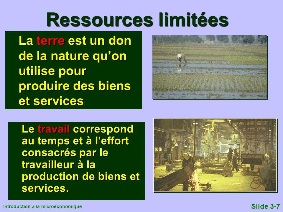 Introduction à la microéconomique Slide 3-7 Ressources limitées Le travail correspond au temps et à leffort consacrés par le travailleur à la producti