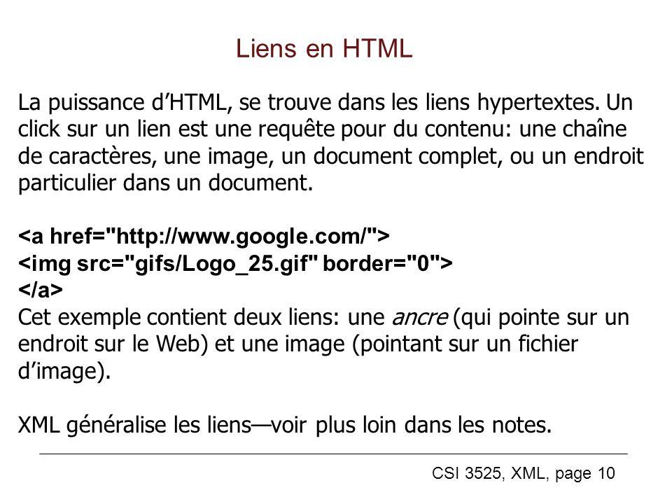 CSI 3525, XML, page 10 Liens en HTML La puissance dHTML, se trouve dans les liens hypertextes. Un click sur un lien est une requête pour du contenu: u