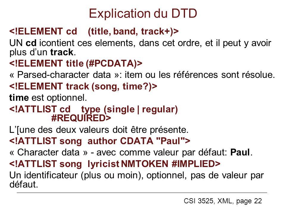 CSI 3525, XML, page 22 Explication du DTD UN cd icontient ces elements, dans cet ordre, et il peut y avoir plus dun track. « Parsed-character data »: