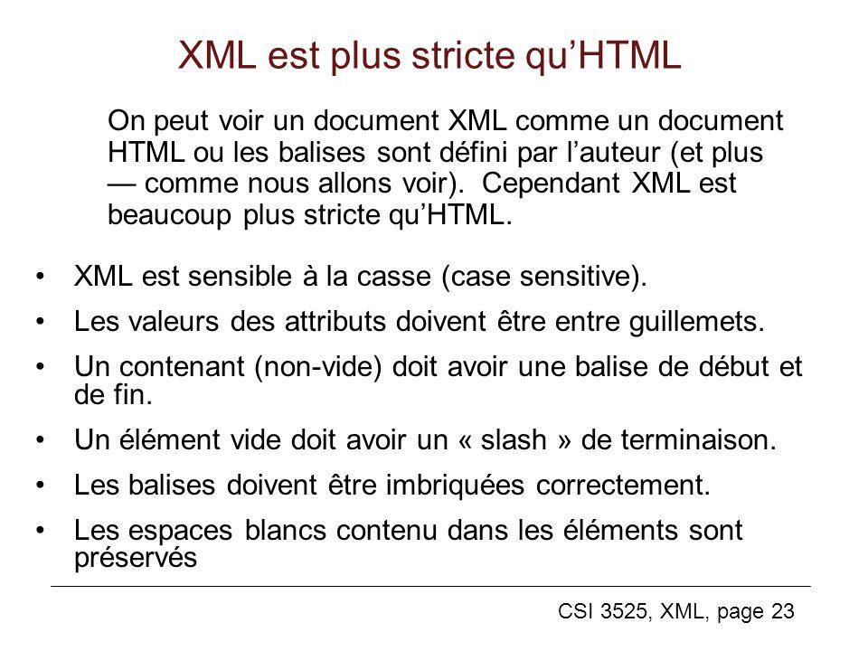 CSI 3525, XML, page 23 XML est plus stricte quHTML XML est sensible à la casse (case sensitive). Les valeurs des attributs doivent être entre guilleme
