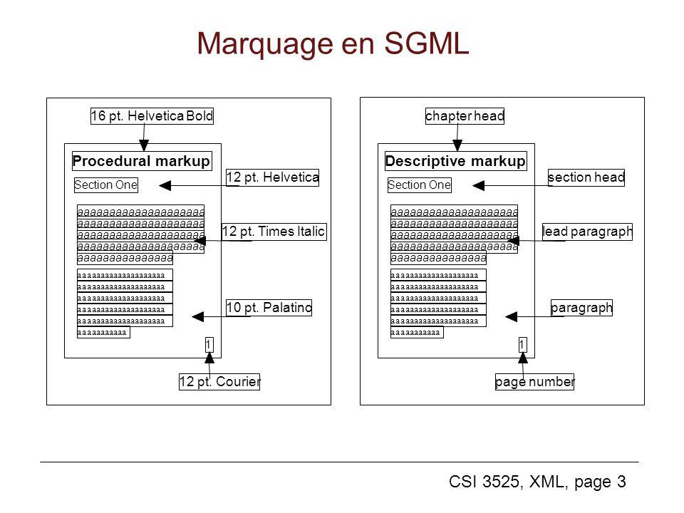 CSI 3525, XML, page 3 Marquage en SGML Procedural markup Section One aaaaaaaaaaaaaaaaaaaa aaaaaaaaaaaaaaa aaaaaaaaaaaaaaaaaaaa aaaaaaaaaaa 1 16 pt. He