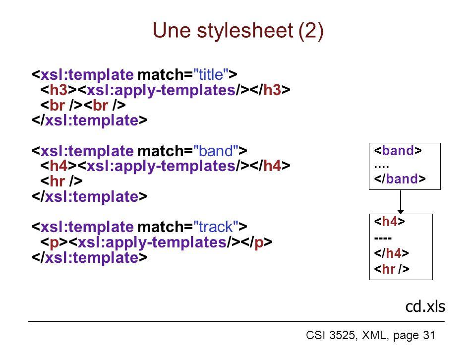 CSI 3525, XML, page 31 Une stylesheet (2).... ---- cd.xls