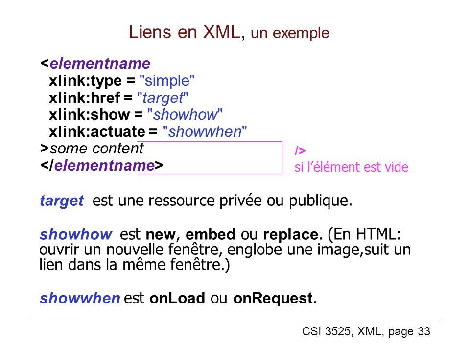 CSI 3525, XML, page 33 Liens en XML, un exemple target est une ressource privée ou publique. showhow est new, embed ou replace. (En HTML: ouvrir un no