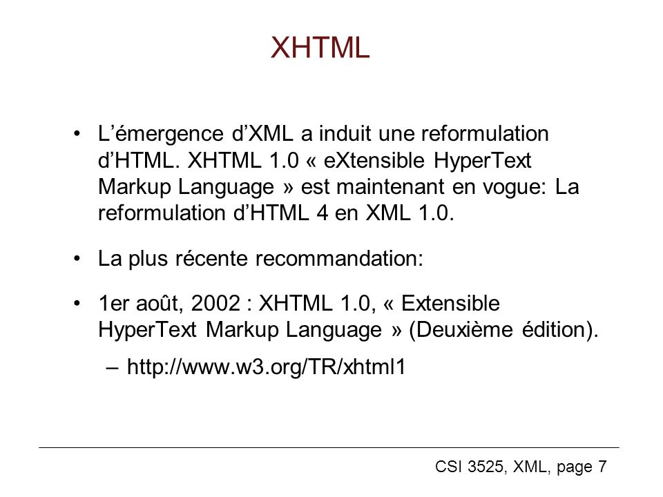 CSI 3525, XML, page 18 Un document XML <?xml-stylesheet type= text/xsl href= cd.xsl ?> Revolver, top two The Beatles Eleanor Rigby 2:45 For No One formatage (voir plus loin dans les notes) structure cd.xml