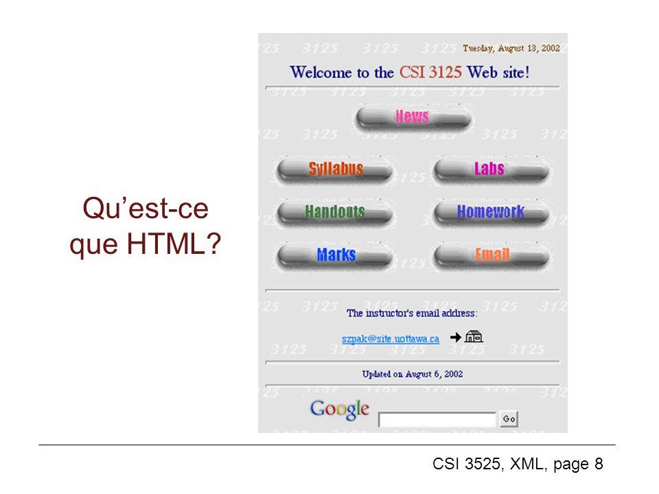 CSI 3525, XML, page 8 Quest-ce que HTML?