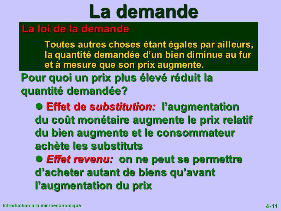 4-11 Introduction à la microéconomique La demande La loi de la demande Toutes autres choses étant égales par ailleurs, la quantité demandée dun bien diminue au fur et à mesure que son prix augmente.