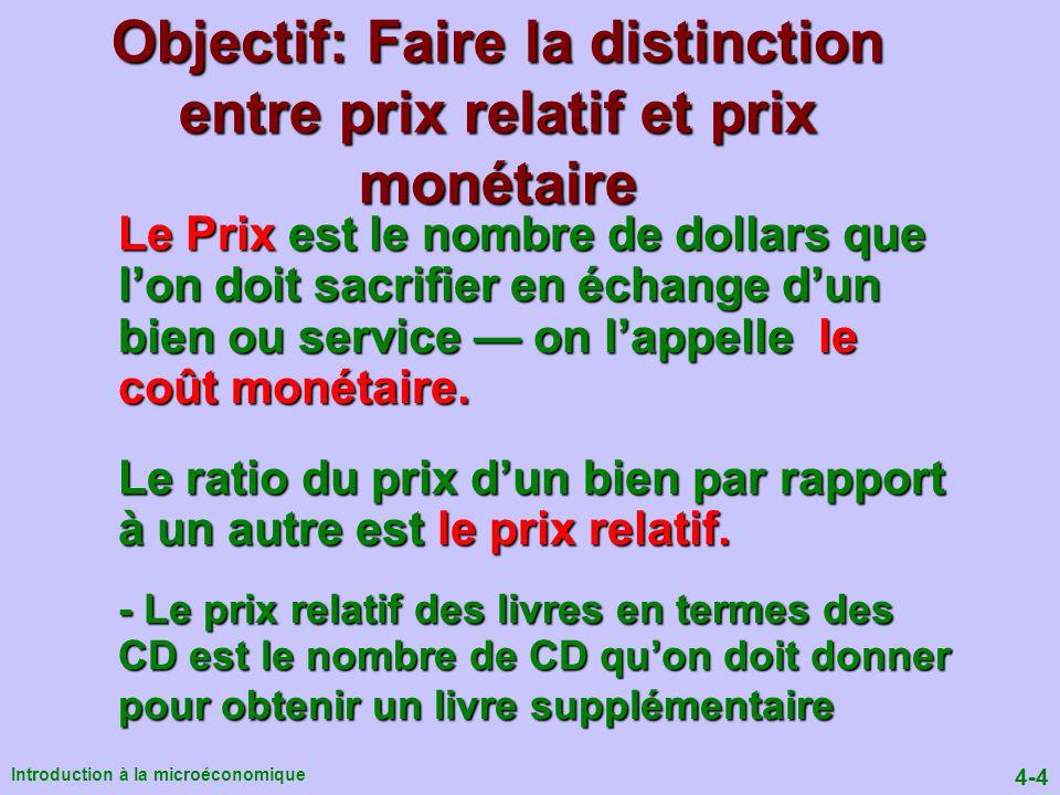 4-75 Introduction à la microéconomique Pour trouver le prix et la quantité déquilibre: Q D = Q o Q D = Q o = Q* P* = a – bQ* P* = c – dQ* Note mathématique
