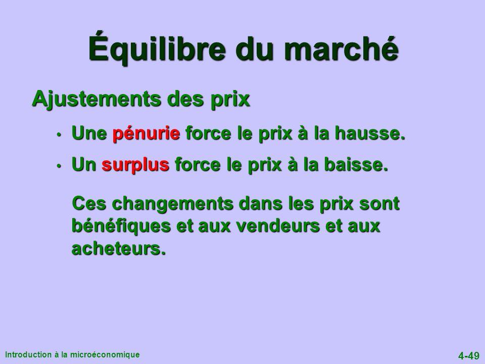 4-49 Introduction à la microéconomique Ajustements des prix Une pénurie force le prix à la hausse.