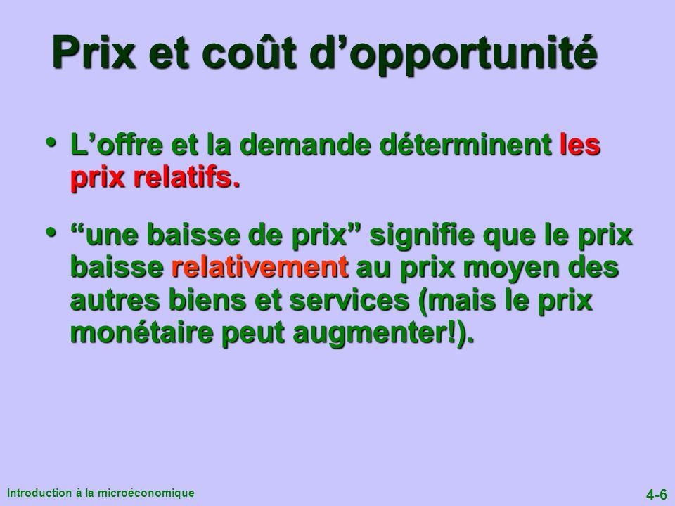 4-6 Introduction à la microéconomique Loffre et la demande déterminent les prix relatifs.