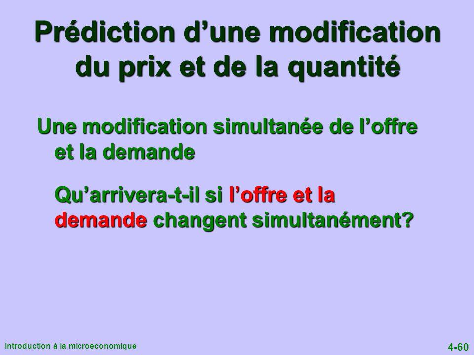 4-60 Introduction à la microéconomique Prédiction dune modification du prix et de la quantité Une modification simultanée de loffre et la demande Quarrivera-t-il si loffre et la demande changent simultanément?
