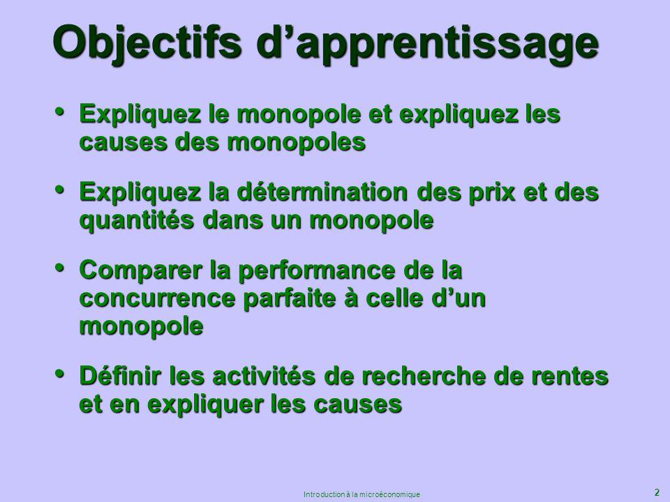2 Introduction à la microéconomique Objectifs dapprentissage Expliquez le monopole et expliquez les causes des monopoles Expliquez le monopole et expl