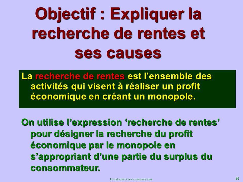 26 Introduction à la microéconomique Objectif : Expliquer la recherche de rentes et ses causes La recherche de rentes est lensemble des activités qui