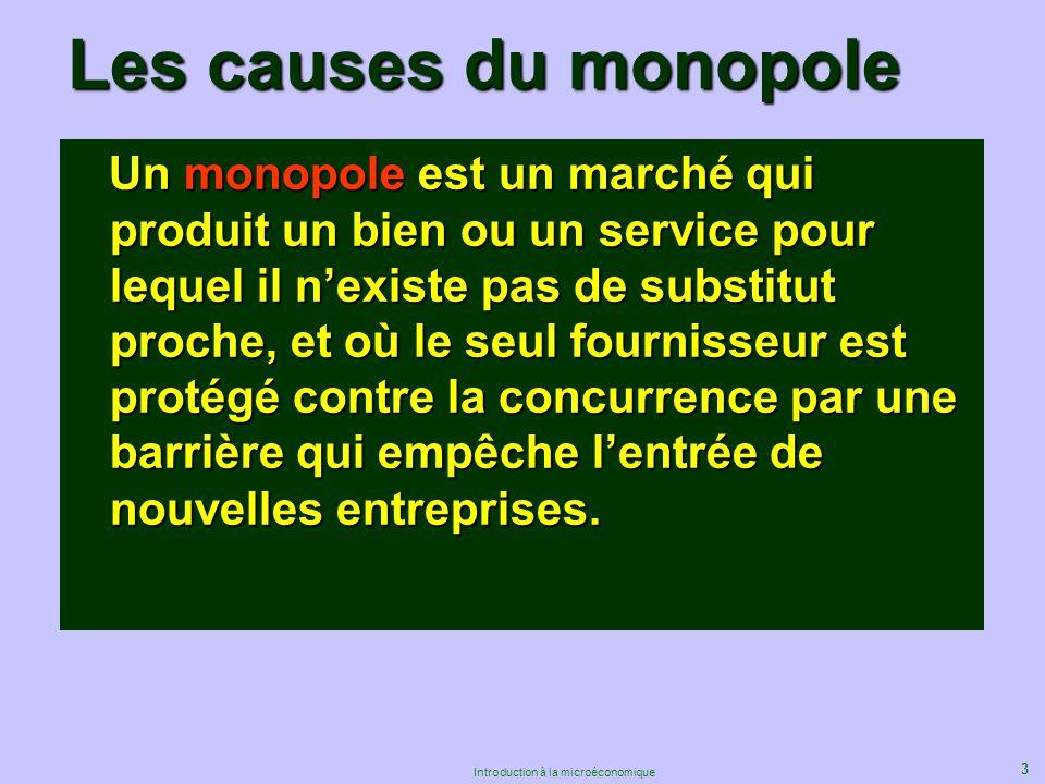 3 Introduction à la microéconomique Les causes du monopole Un monopole est un marché qui produit un bien ou un service pour lequel il nexiste pas de s