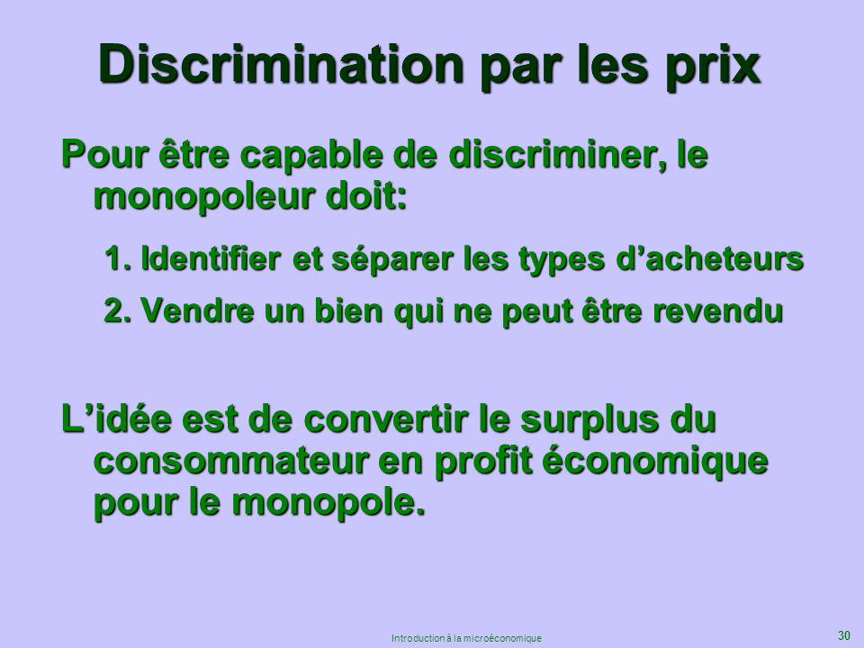 30 Introduction à la microéconomique Discrimination par les prix Pour être capable de discriminer, le monopoleur doit: 1. Identifier et séparer les ty