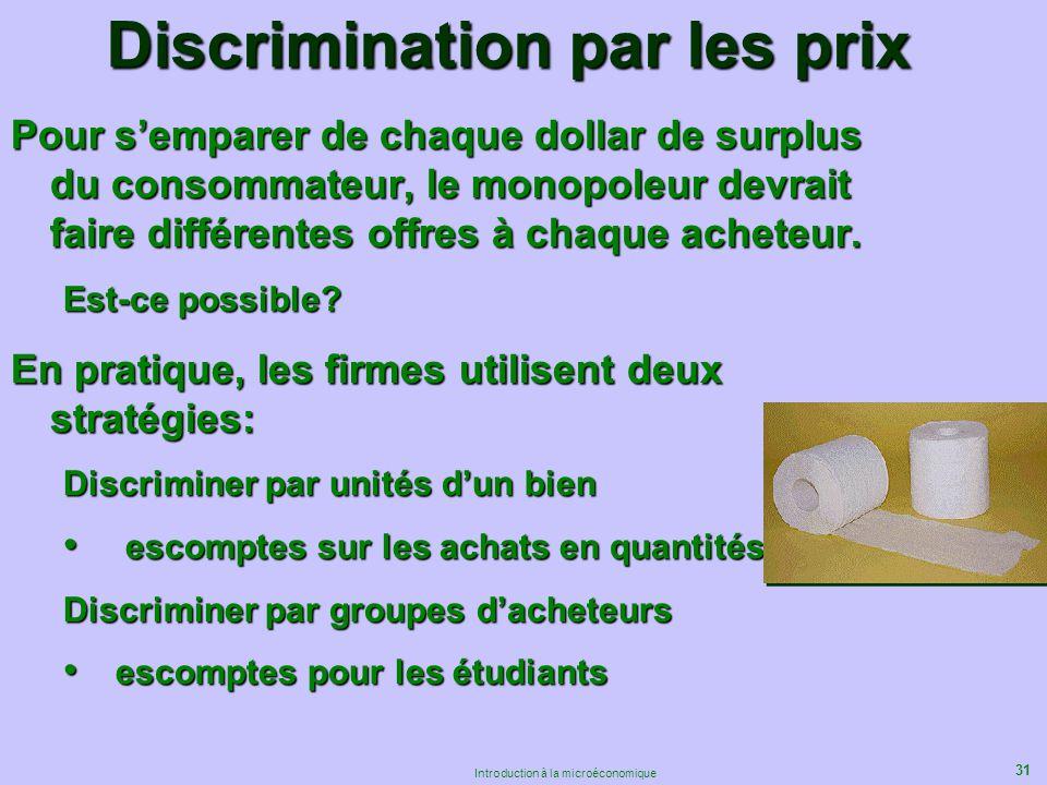 31 Introduction à la microéconomique Discrimination par les prix Pour semparer de chaque dollar de surplus du consommateur, le monopoleur devrait fair