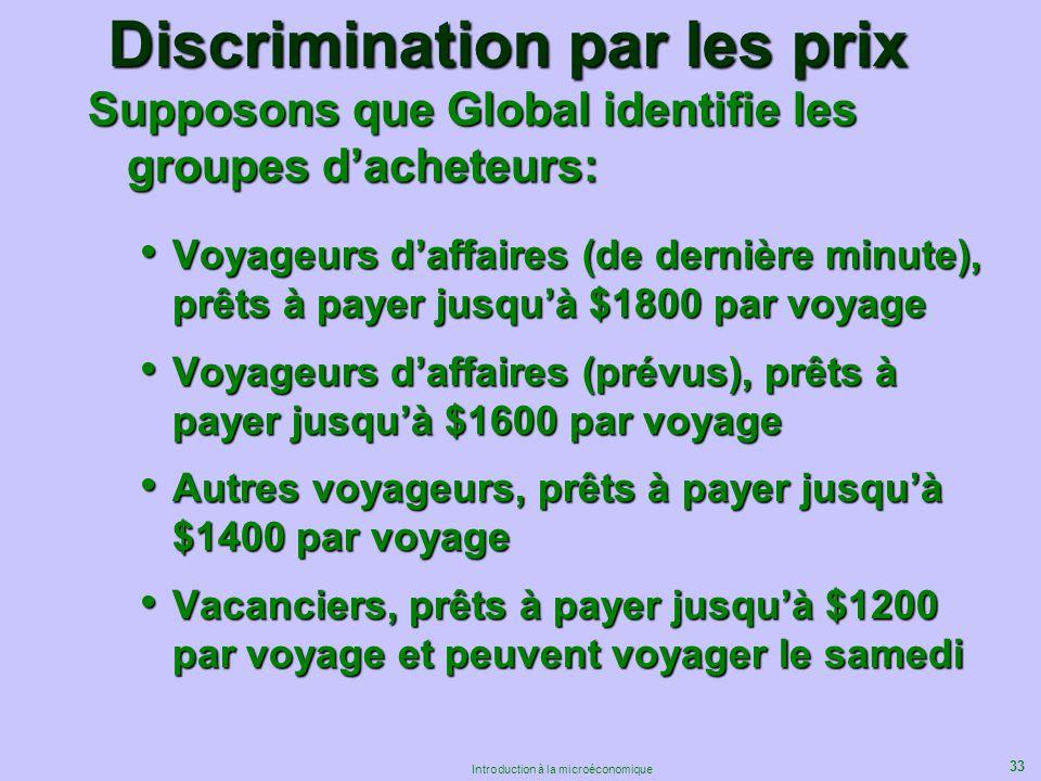 33 Introduction à la microéconomique Discrimination par les prix Supposons que Global identifie les groupes dacheteurs: Voyageurs daffaires (de derniè