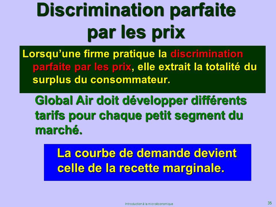35 Introduction à la microéconomique Discrimination parfaite par les prix Lorsquune firme pratique la discrimination parfaite par les prix, elle extra