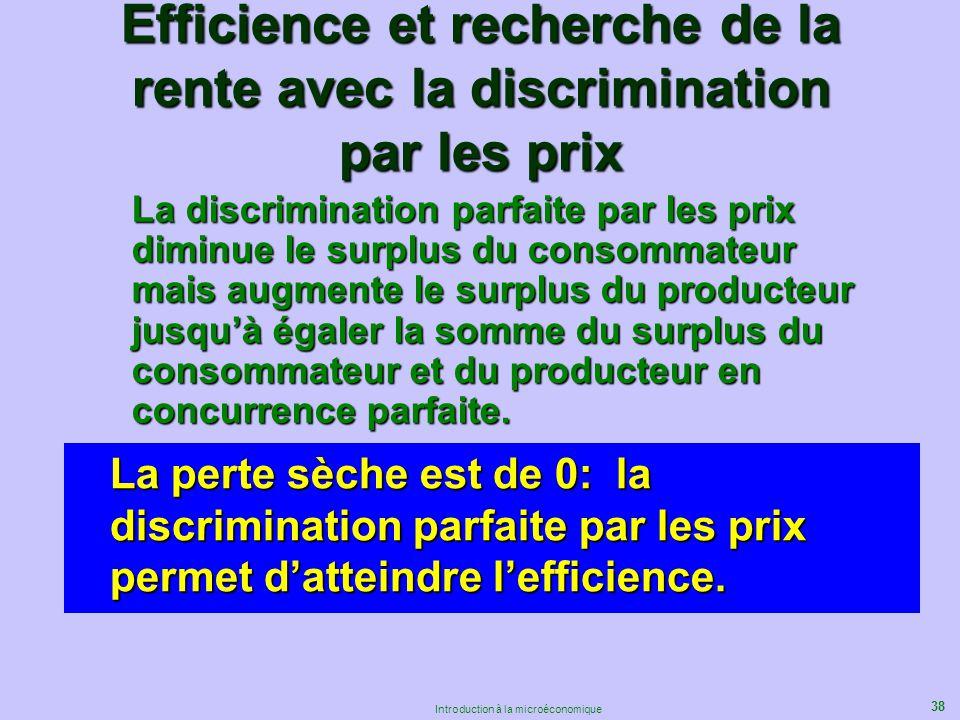 38 Introduction à la microéconomique Efficience et recherche de la rente avec la discrimination par les prix La discrimination parfaite par les prix d