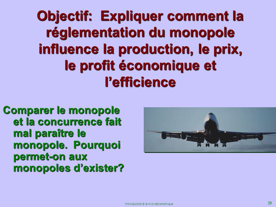 39 Introduction à la microéconomique Objectif: Expliquer comment la réglementation du monopole influence la production, le prix, le profit économique