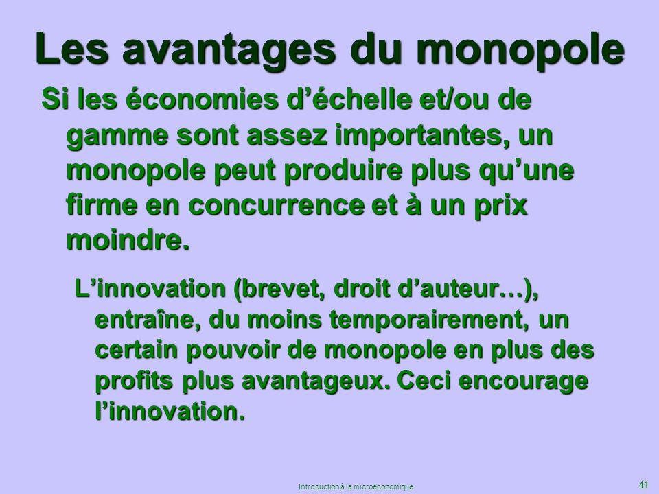 41 Introduction à la microéconomique Les avantages du monopole Si les économies déchelle et/ou de gamme sont assez importantes, un monopole peut produ