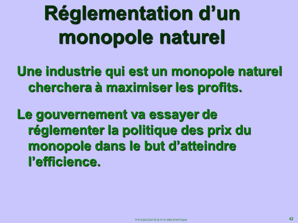 42 Introduction à la microéconomique Réglementation dun monopole naturel Une industrie qui est un monopole naturel cherchera à maximiser les profits.