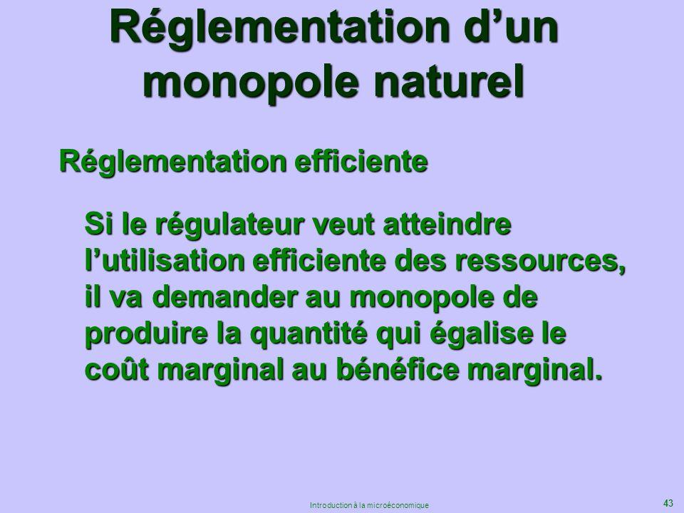 43 Introduction à la microéconomique Réglementation dun monopole naturel Réglementation efficiente Si le régulateur veut atteindre lutilisation effici
