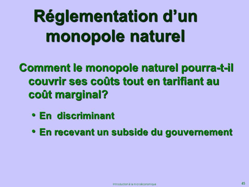 45 Introduction à la microéconomique Réglementation dun monopole naturel Comment le monopole naturel pourra-t-il couvrir ses coûts tout en tarifiant a