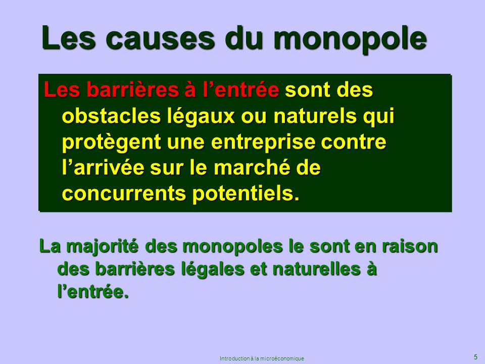 5 Introduction à la microéconomique Les causes du monopole Les barrières à lentrée sont des obstacles légaux ou naturels qui protègent une entreprise