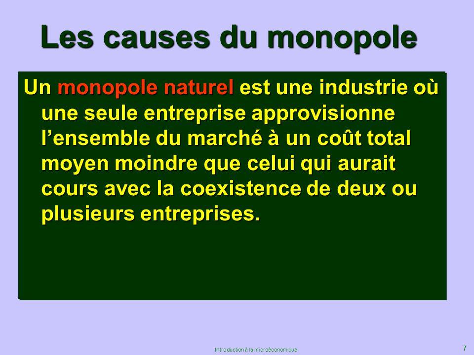 7 Introduction à la microéconomique Un monopole naturel est une industrie où une seule entreprise approvisionne lensemble du marché à un coût total mo