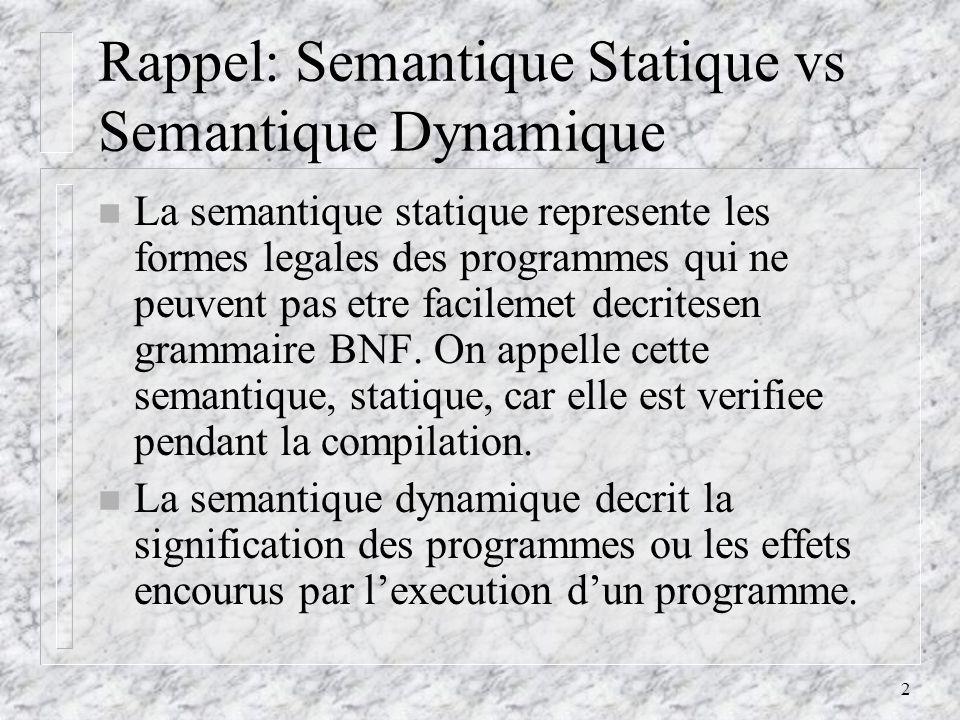 2 Rappel: Semantique Statique vs Semantique Dynamique n La semantique statique represente les formes legales des programmes qui ne peuvent pas etre facilemet decritesen grammaire BNF.