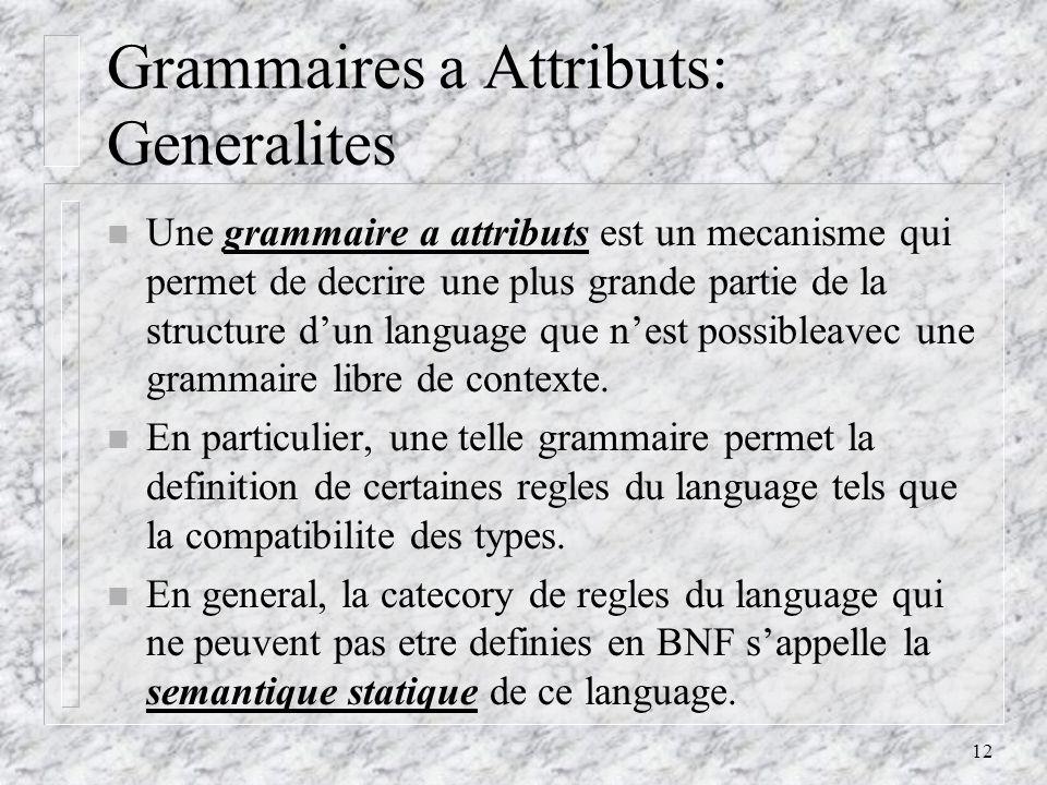 12 Grammaires a Attributs: Generalites n Une grammaire a attributs est un mecanisme qui permet de decrire une plus grande partie de la structure dun language que nest possibleavec une grammaire libre de contexte.