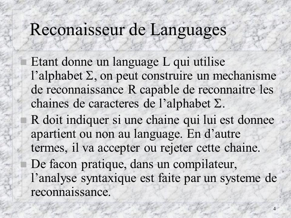 4 Reconaisseur de Languages n Etant donne un language L qui utilise lalphabet, on peut construire un mechanisme de reconnaissance R capable de reconnaitre les chaines de caracteres de lalphabet.
