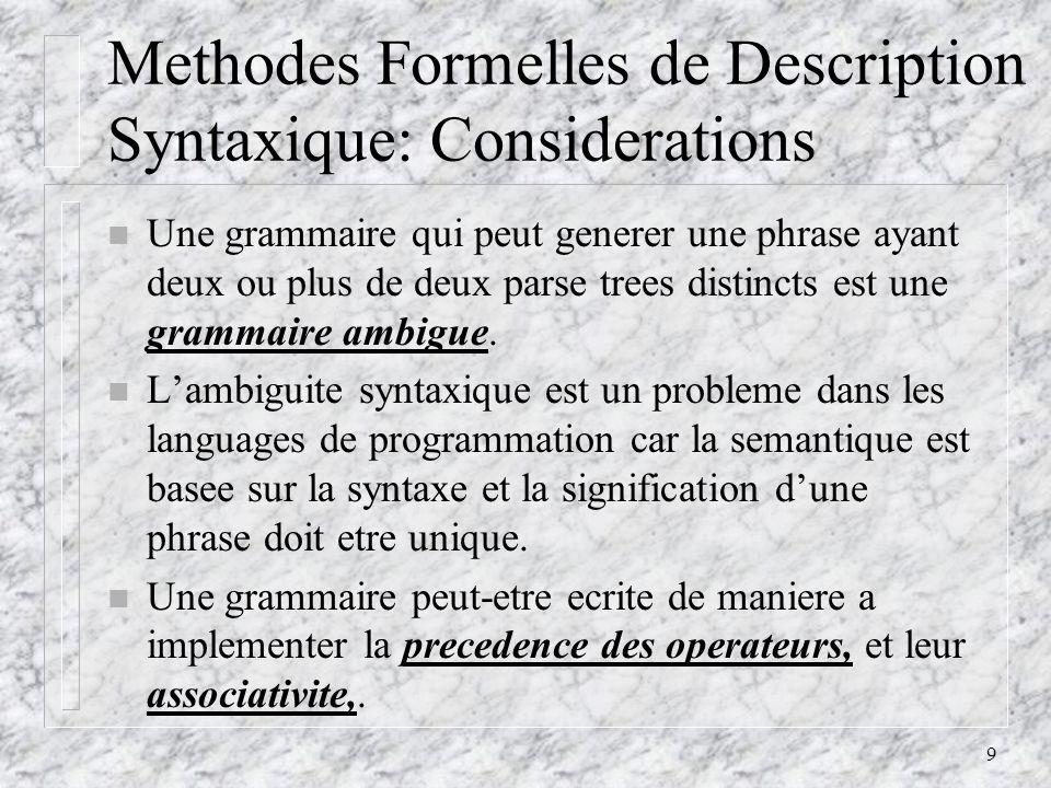 9 Methodes Formelles de Description Syntaxique: Considerations n Une grammaire qui peut generer une phrase ayant deux ou plus de deux parse trees distincts est une grammaire ambigue.