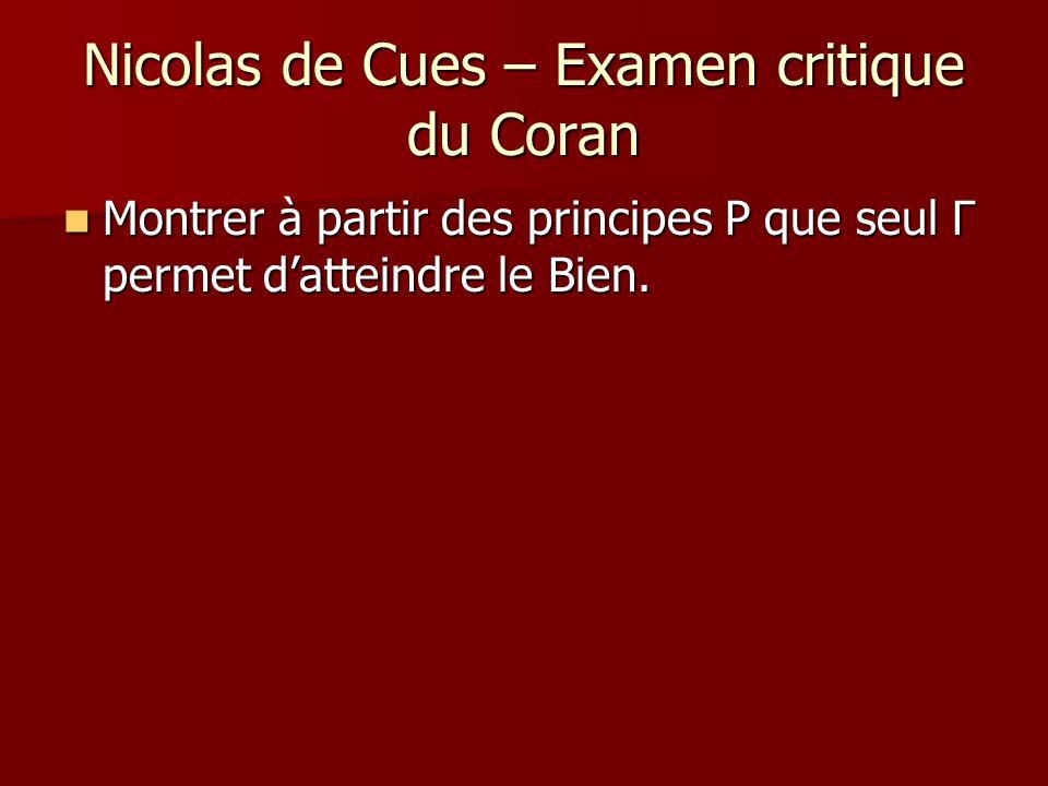 Nicolas de Cues – Examen critique du Coran Montrer à partir des principes P que seul Γ permet datteindre le Bien. Montrer à partir des principes P que