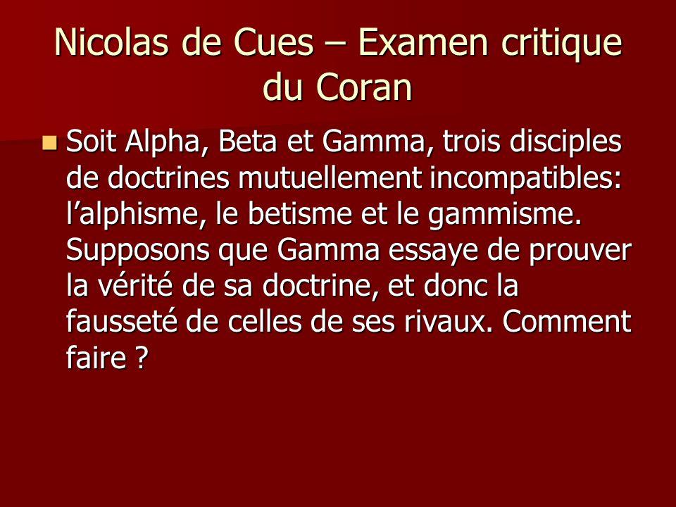 Nicolas de Cues – Examen critique du Coran Gamma pourrait présenter un argument en faveur du gammisme, dont la conclusion serait: Gamma pourrait présenter un argument en faveur du gammisme, dont la conclusion serait: « Donc, le gammisme est vrai » « Donc, le gammisme est vrai » On va appeler cela la preuve directe.