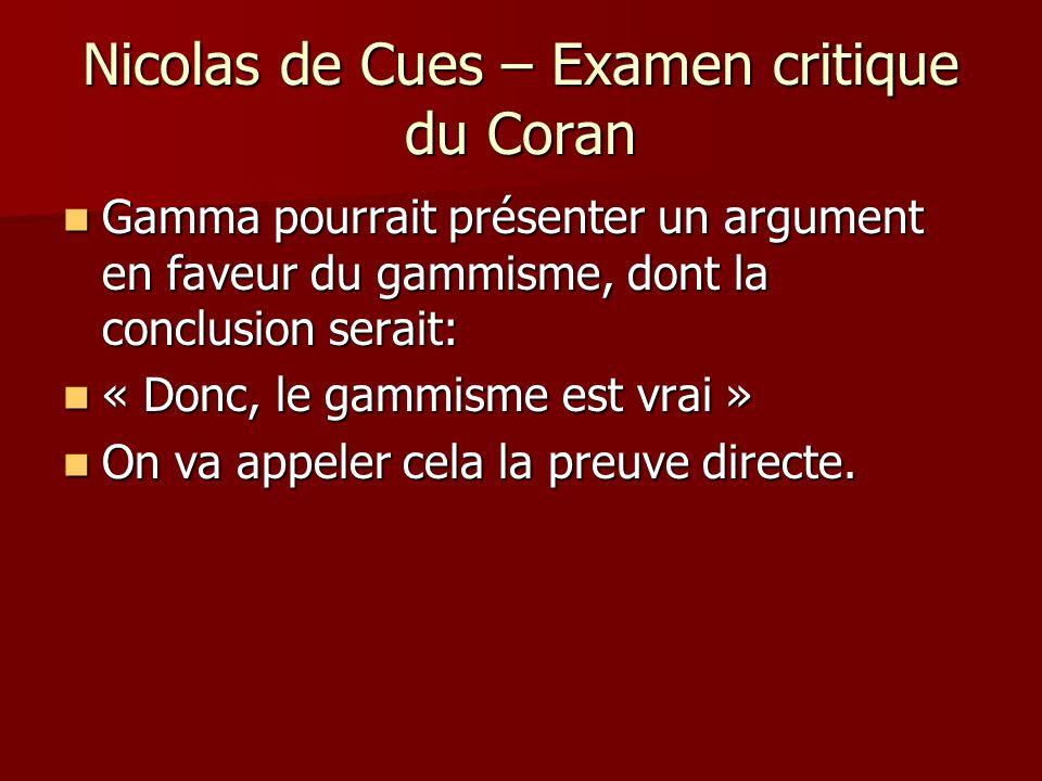 Nicolas de Cues – Examen critique du Coran Mais, Alpha et Beta pourraient en faire autant, i.e., Alpha pourrait proposer une preuve directe de lalphisme et Beta, une preuve directe du Betisme.