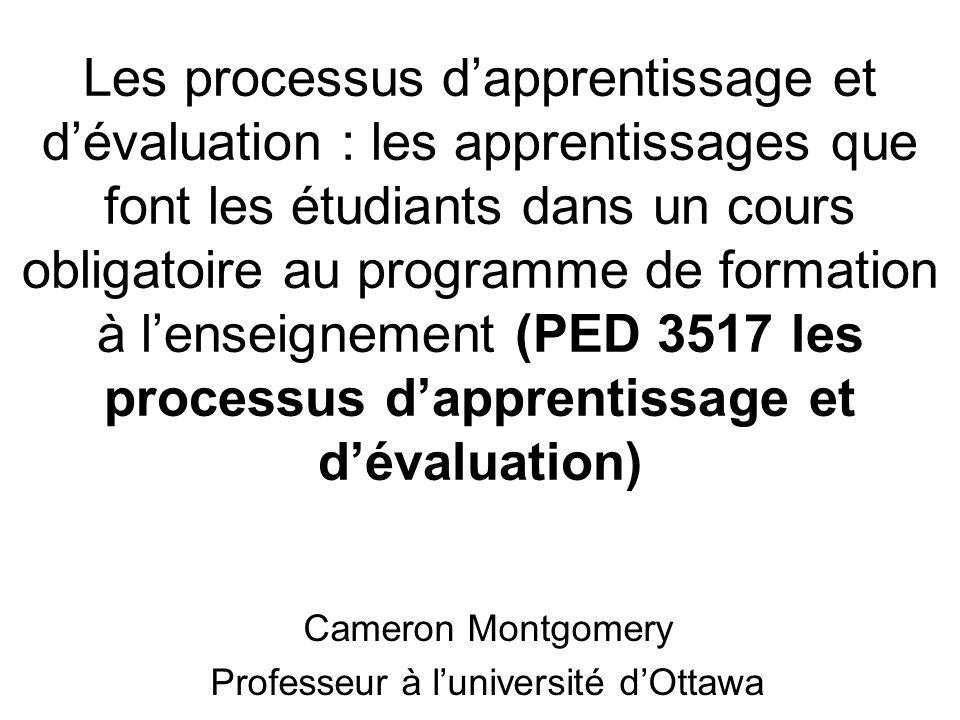 Les processus dapprentissage et dévaluation : les apprentissages que font les étudiants dans un cours obligatoire au programme de formation à lenseignement (PED 3517 les processus dapprentissage et dévaluation) Cameron Montgomery Professeur à luniversité dOttawa