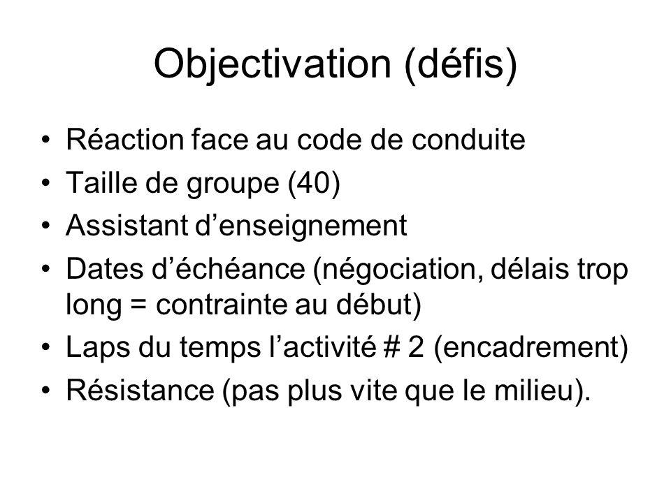 Objectivation (défis) Réaction face au code de conduite Taille de groupe (40) Assistant denseignement Dates déchéance (négociation, délais trop long = contrainte au début) Laps du temps lactivité # 2 (encadrement) Résistance (pas plus vite que le milieu).