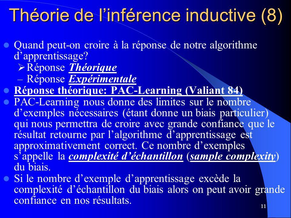 11 Théorie de linférence inductive (8) Quand peut-on croire à la réponse de notre algorithme dapprentissage? Réponse Théorique – Réponse Expérimentale