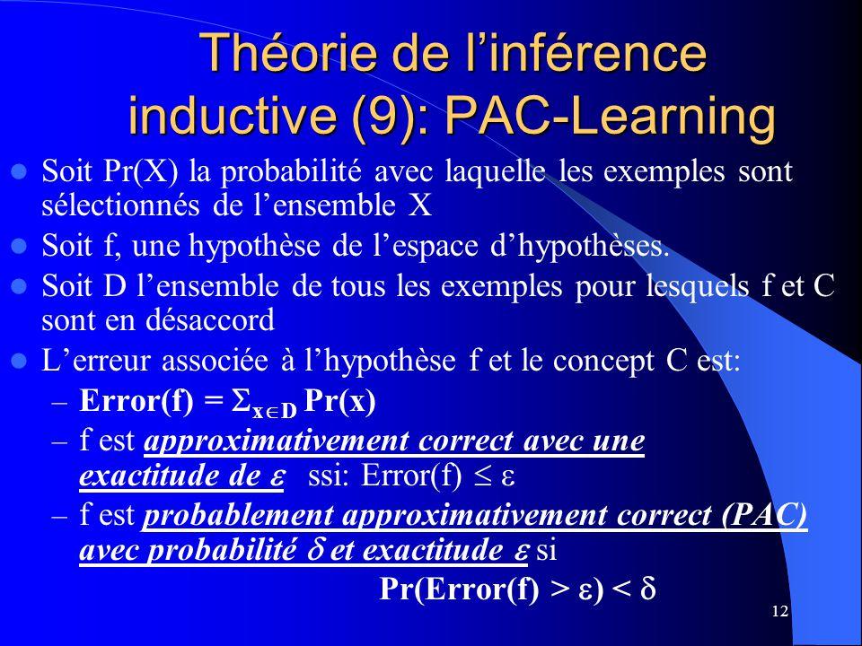 12 Théorie de linférence inductive (9): PAC-Learning Soit Pr(X) la probabilité avec laquelle les exemples sont sélectionnés de lensemble X Soit f, une