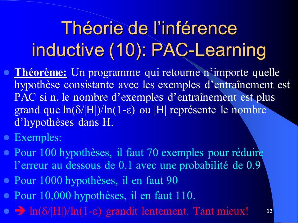 13 Théorie de linférence inductive (10): PAC-Learning Théorème: Un programme qui retourne nimporte quelle hypothèse consistante avec les exemples dent